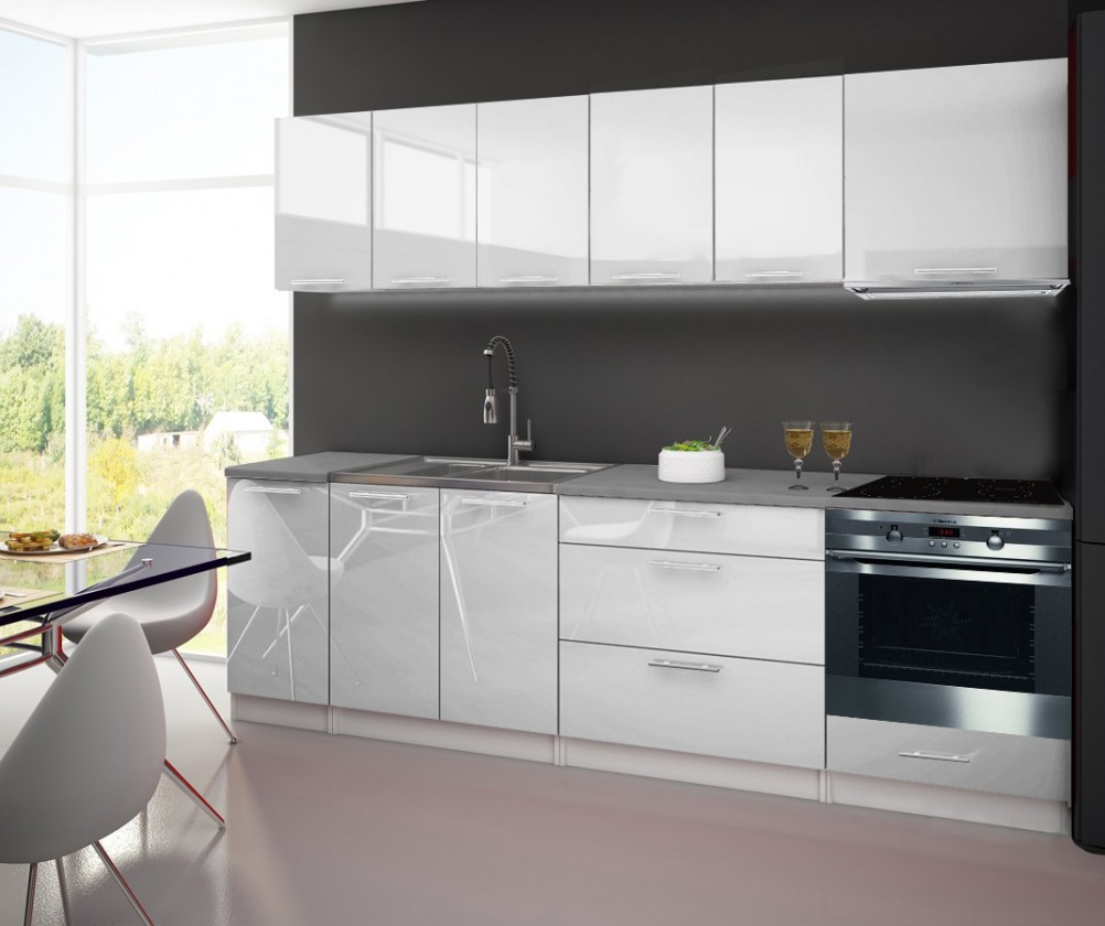 Bazár kuchyne, jedál Emilia - Kuchynský blok C, 2,6 m (biela lesk)