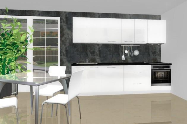 Bazár kuchyne, jedál Emilia - Kuchynský blok D pre vstavanú rúru, 2,8 m (biela lesk)