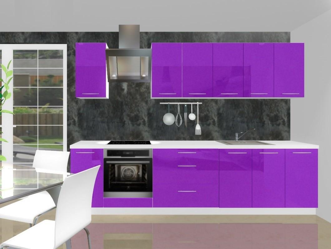Bazár kuchyne, jedál Emilia - Kuchynský blok H pre vstavanú rúru, 3 m (fialová lesk)