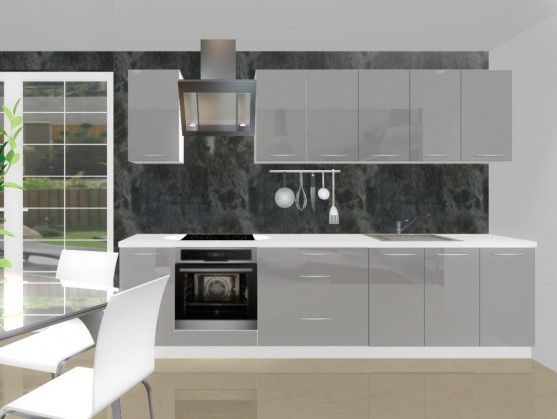 Bazár kuchyne, jedál Emilia - Kuchynský blok H pre vstavanú rúru, 3 m (šedá lesk)