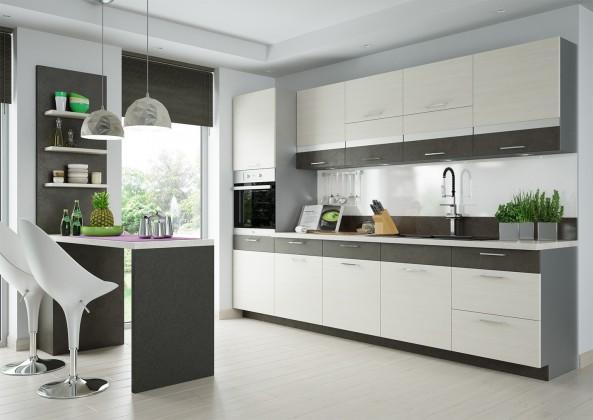 Bazár kuchyne, jedál Fresh - kuchynský blok 300 cm (hnedá, bielená borovice)