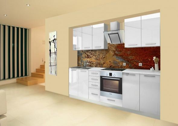 Bazár kuchyne, jedál Mondeo - Kuchynský blok A 260 cm, biela, lesk