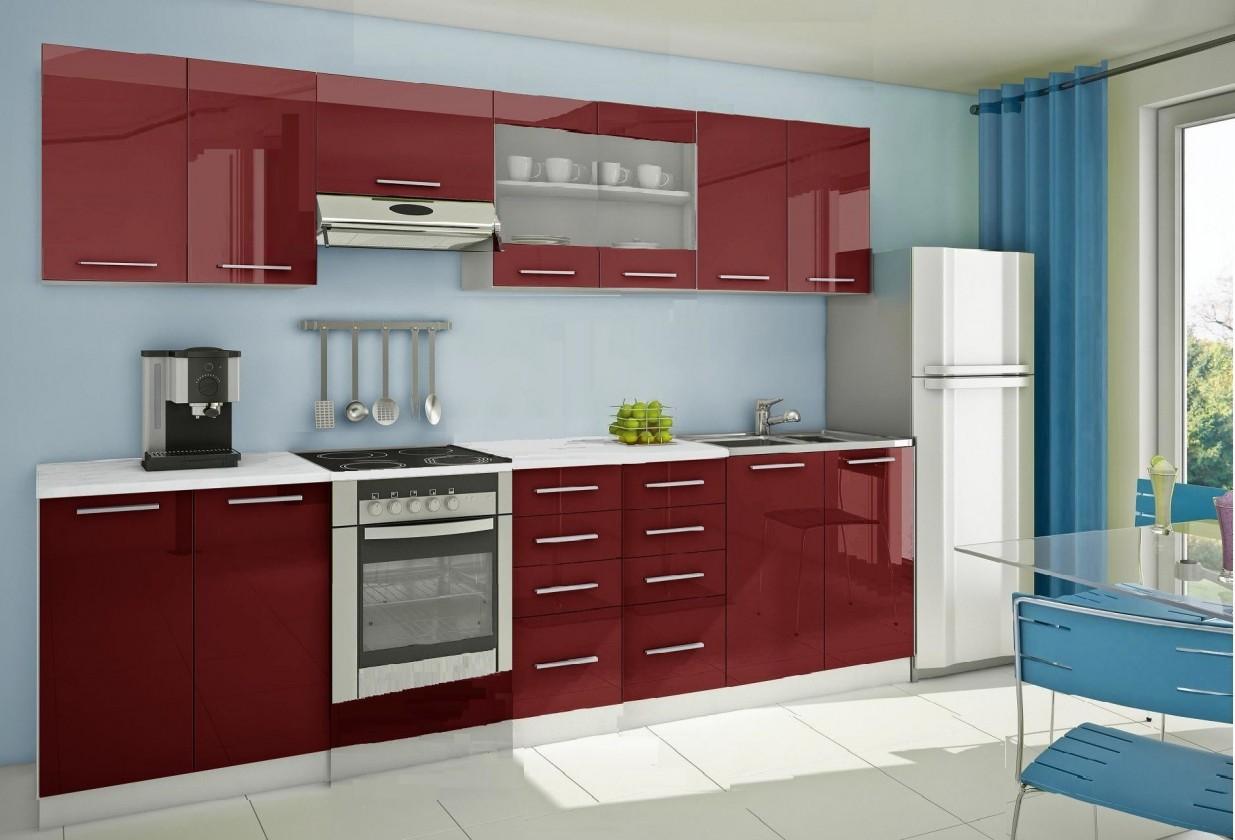 Bazár kuchyne, jedál Mondeo - Kuchynský blok F 300 cm, červená, lesk