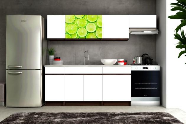 Bazár kuchyne, jedálne Eliza 2 - 180/240 cm (wenge/biela/travertín tmavý/limetka)