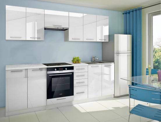 Bazár kuchyne, jedálne Mondeo - Kuchynský blok D 260 cm, biela, lesk