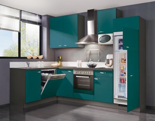 Bazár kuchyne, jedálne Slowfox - Kuchyňa rohová, 280x175cm (tyrkysová/sivá)