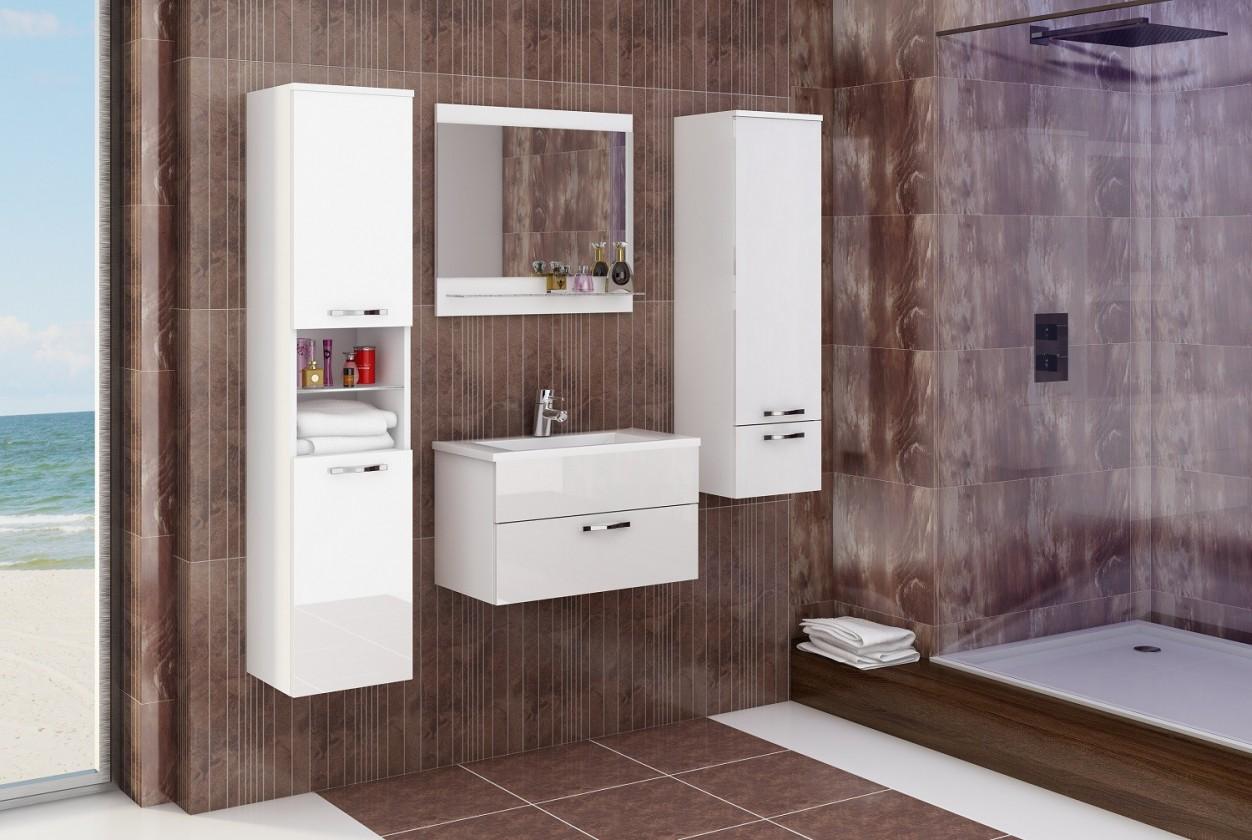 Bazár kúpeľne Adel - Zostava s umývadlom (biela/biely lesk)
