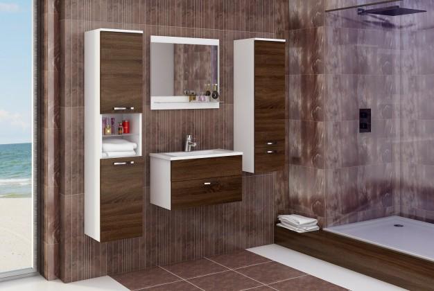 Bazár kúpeľne Adel - Zostava s umývadlom (biela/sonoma čokoládová)
