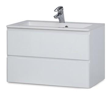 Bazár kúpeľne Rouen - Skrinka s umývadlom 80 cm (biela vysoký lesk)