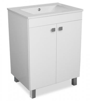 Bazár kúpeľne SU 35 - Skrinka s umývadlom, 60 cm (biela, vysoký lesk)