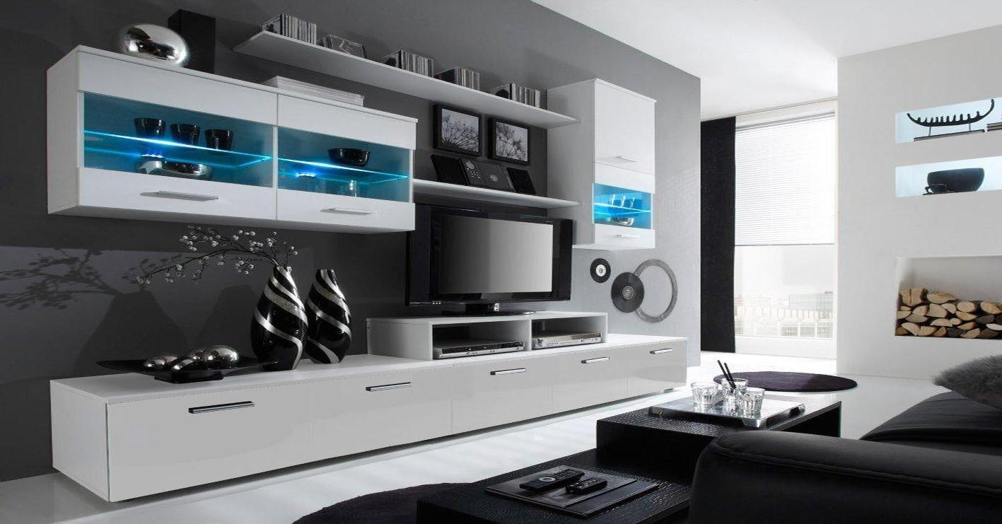 Bazár obývacie izby Alfa - obývacia stena (biela/biela)