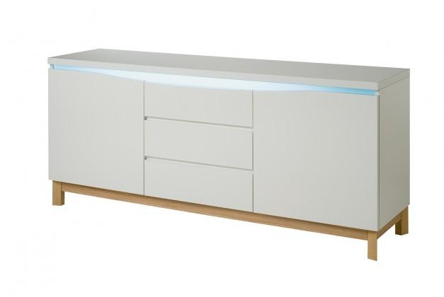 Bazár obývacie izby Almera - Komoda, 2x dvierka, 3x zásuvky (biela/dub)