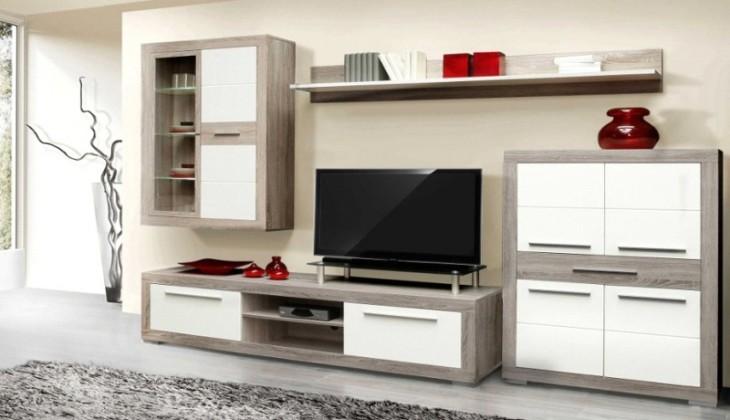 Bazár obývacie izby Atrium ATRM02B (šedá dub sonoma/biela lesk)