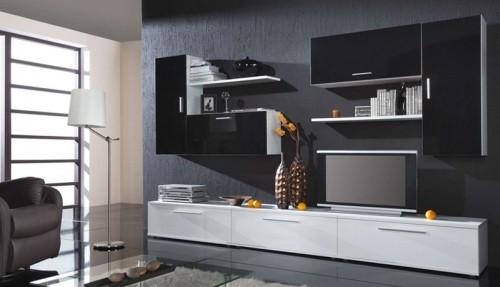 Bazár obývacie izby Bora (biela mat/čierna lesk)