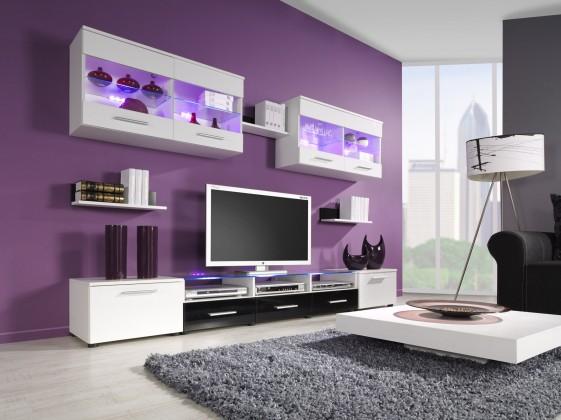 Bazár obývacie izby Cama I (biela/biela,čierna lesk)