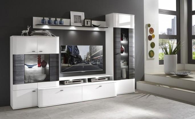 Bazár obývacie izby Denver - Kombi 109 (bílá arctic LDTD / černá strukturovaná)