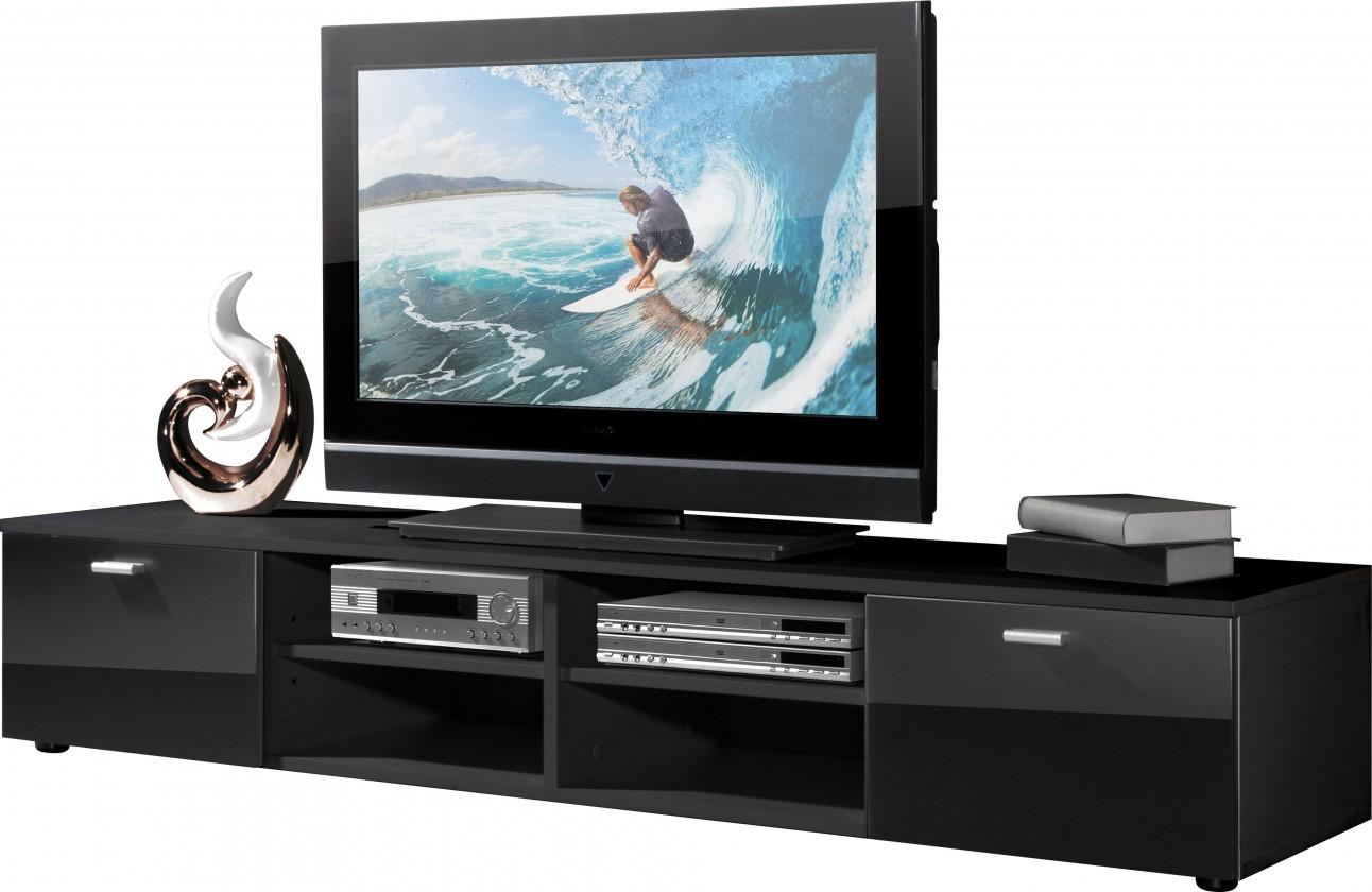 Bazár obývacie izby Easy - TV stolík, 3666-83 (čierna/čierna vysoký lesk)