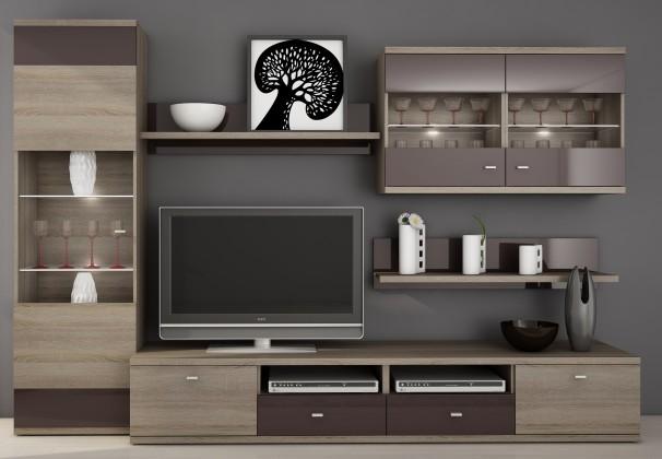 Bazár obývacie izby Enova (dub truffle / bazalt lesk)