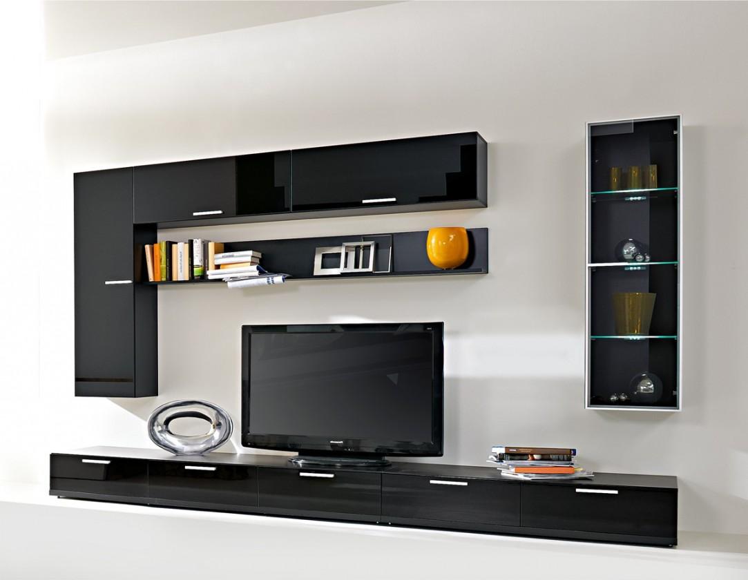 Bazár obývacie izby Game - Obývacia stena (čierna / čierna sklo GS)