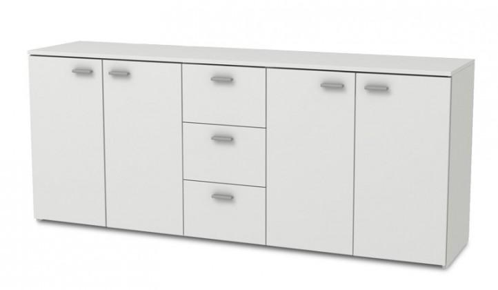 Bazár obývacie izby Hugo - Komoda, 4x dvere, 3x zásuvka (biela)
