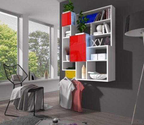 Bazár obývacie izby Jazz - regál závesný (biela/červená)