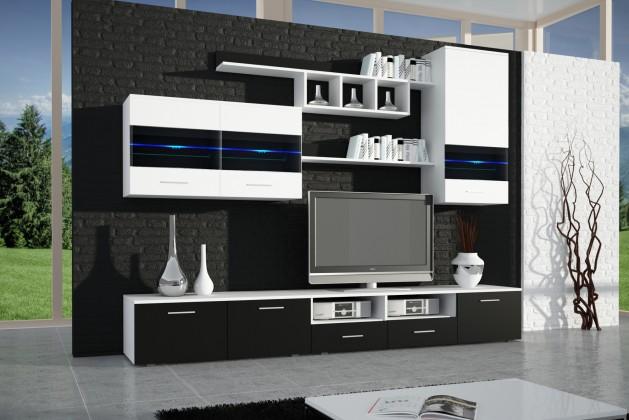 Bazár obývacie izby Lyon (biela / čierna lesk)