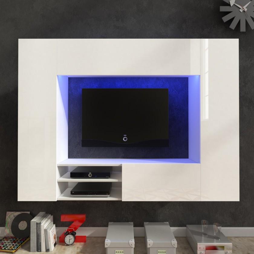 Bazár obývacie izby Net - Obývacia stena (biela/biela lesk)