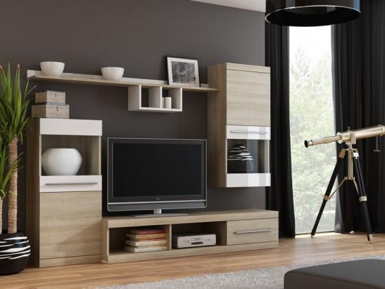 Bazár obývacie izby Nick - Obývacia stena (dub sonoma/dub sonoma,biela lesk)