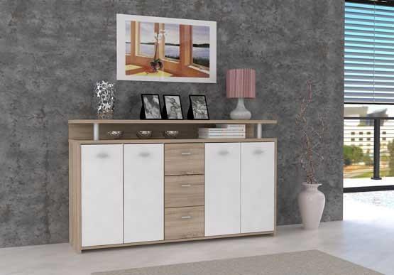 Bazár obývacie izby Pablo - Komoda (dub sonoma/biela)