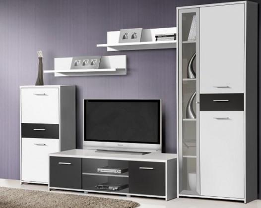 Bazár obývacie izby Pablo - Obývacia stena PBLM01 (biela/čierná)