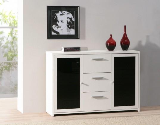 Bazár obývacie izby Pablo PBLV25 (biela/čierne sklo)