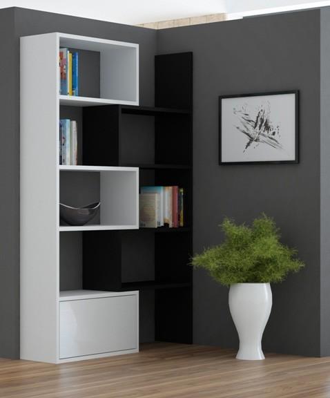 Bazár obývacie izby Paco 1 - Regál (biela/čierna)
