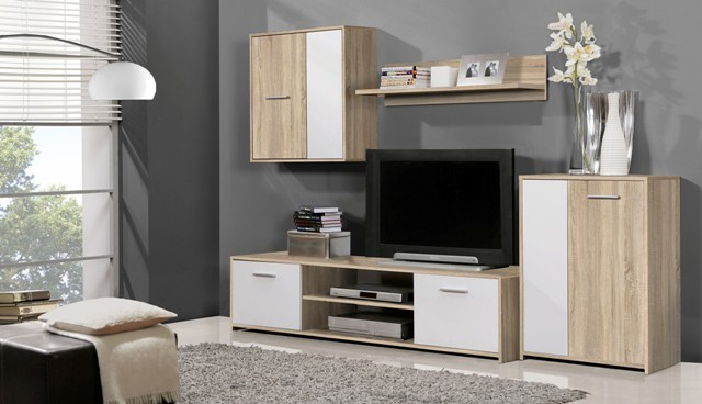 Bazár obývacie izby Paco PCOM02-Q45F(dub sonoma/biela)