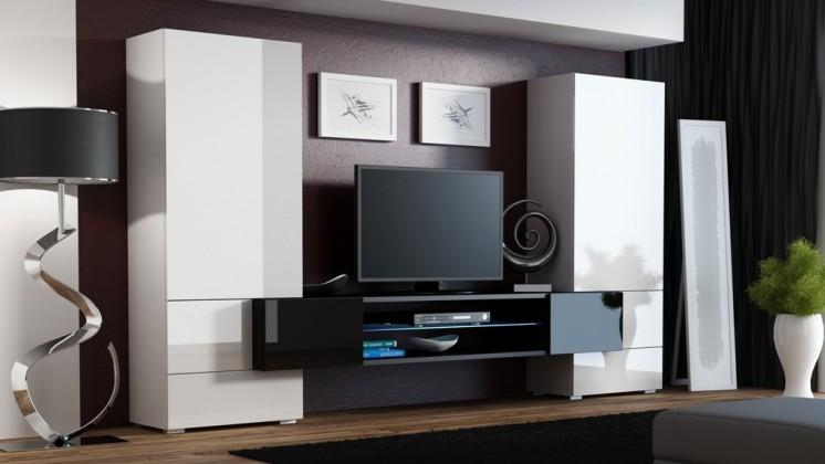Bazár obývacie izby Torii - Obývacia stena (biela lesk, tv stol: čierna/čierna lesk)
