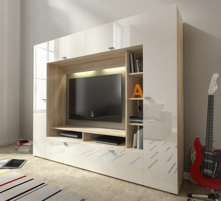 Bazár obývacie izby Vigo - Obývacia stena (dub sonoma/biela lesk)