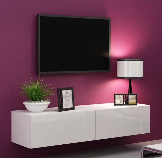 Bazár obývacie izby Vigo - TV komoda 140 (biela mat/biela VL)