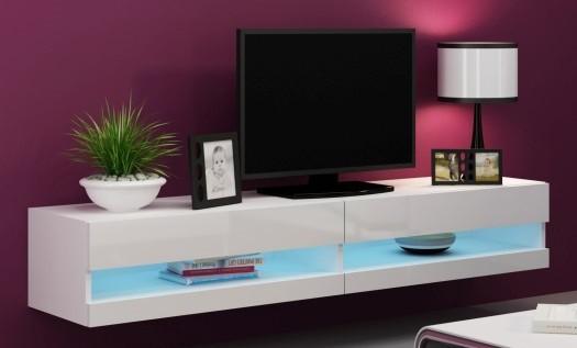 Bazár obývacie izby Vigo - TV komoda 180 otvorená (biela mat/biela VL)