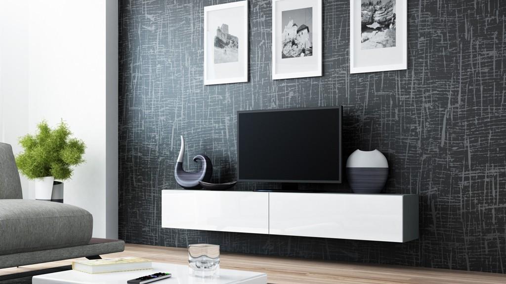 Bazár obývacie izby Vigo - TV komoda 180 (šedá/biela lesk)