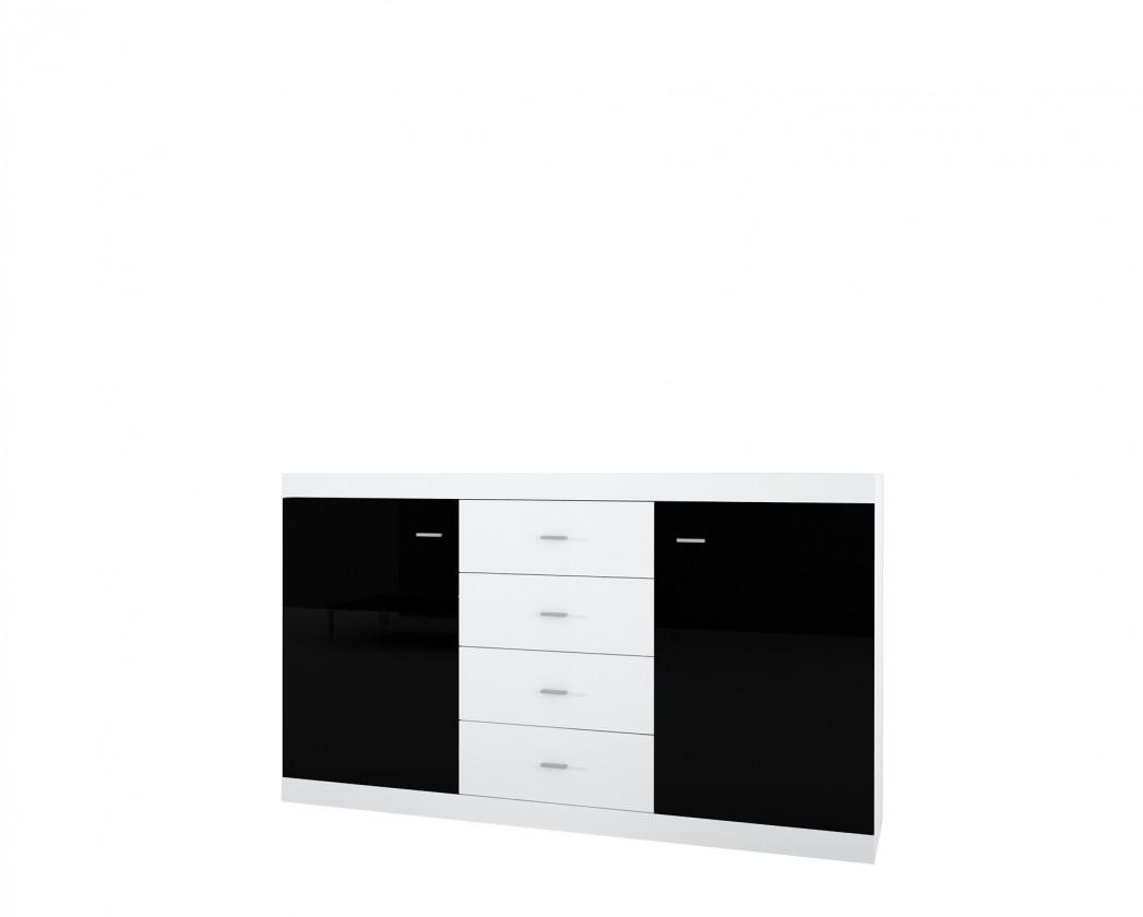 Bazár obývacie izby Viktor 1, 150 (biela / čierna lesk)