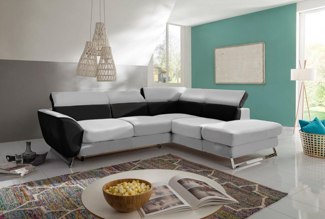 Bazár sedacie súprav Elba - Pravá (pulse black D209, korpus/maison pearl E430)