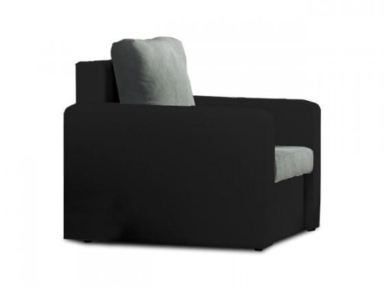 Bazár sedacie súprav Venus - Kreslo (microfiber dark grey, sedák/pvc black, korpus)