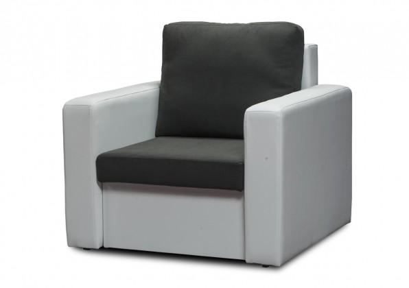 Bazár sedacie súprav Venus-kreslo (microfiber dark grey-sedák/pvc white korpus)