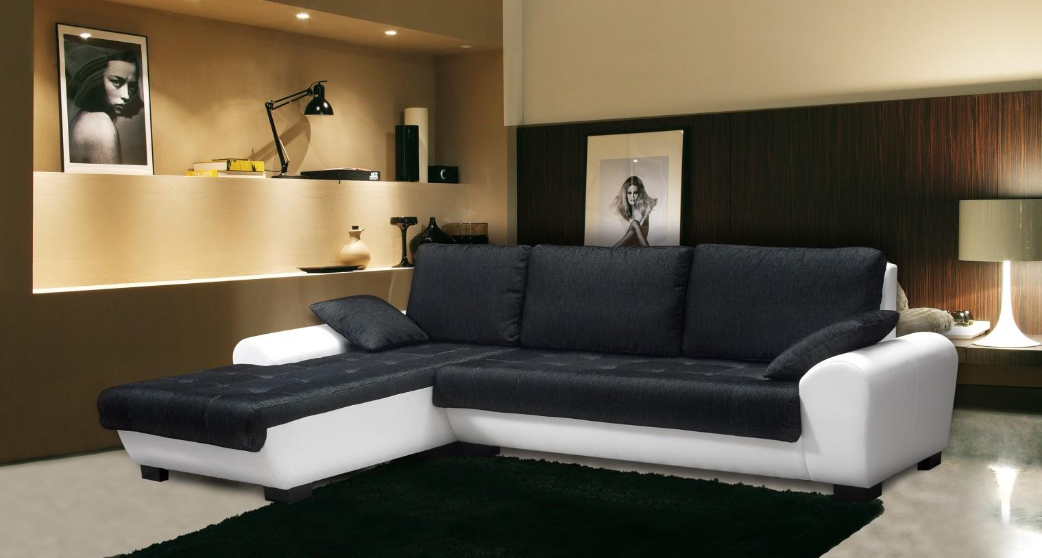 Bazár sedacie súprav Yvette - ľavý roh (savana black pvc white)