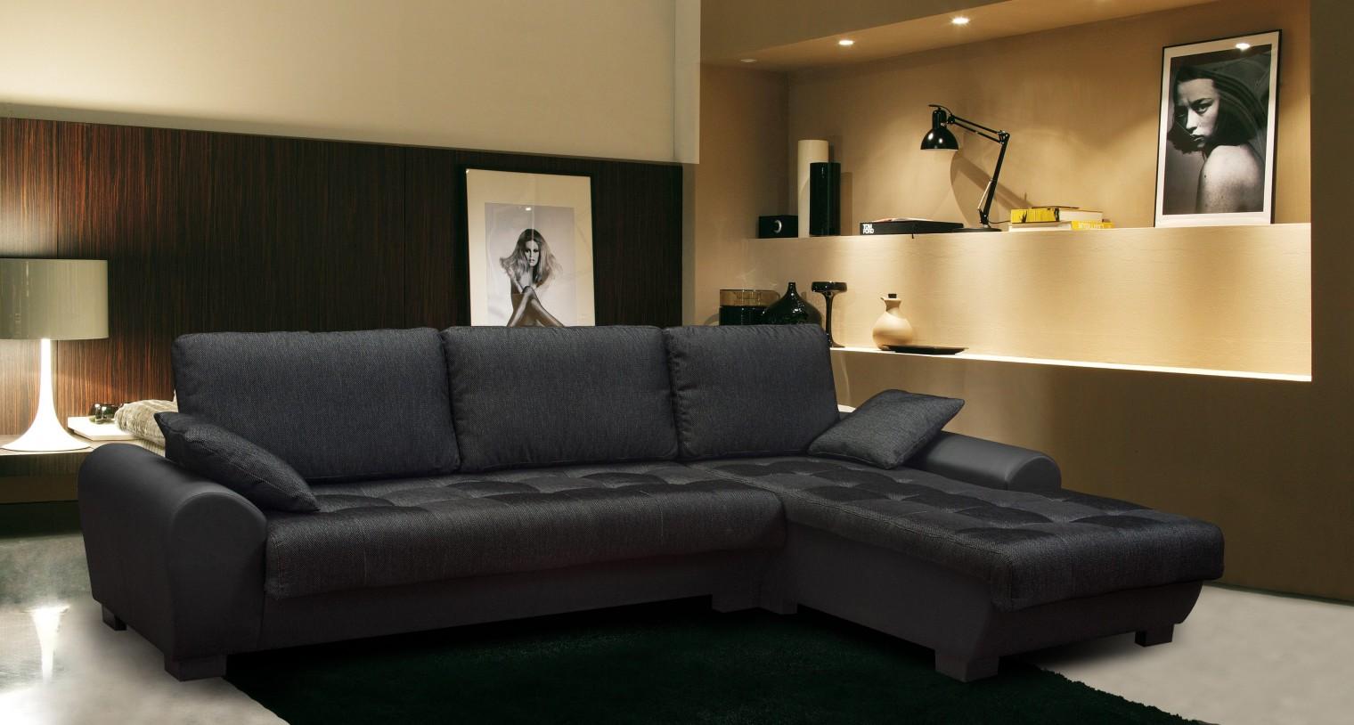 Bazár sedacie súprav Yvette - Pravý roh (savana black pvc black)