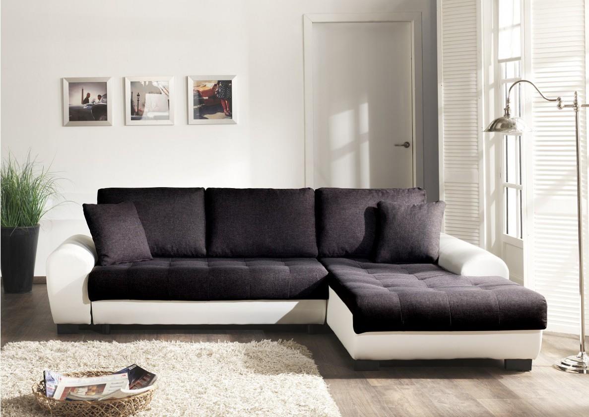 Bazár sedacie súprav Yvette - Roh pravý (savana čierna pvc biela)