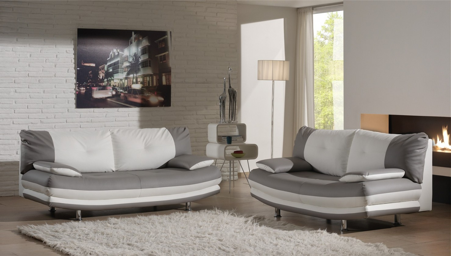 Bazár sedacie súpravy Maliboo-sedacie set (hanne light grey-hl.látka/white-dopl.látka)