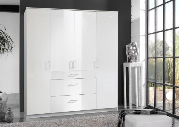 Bazár spálne Clack - Skriňa, 4x dvere (biela, biela)