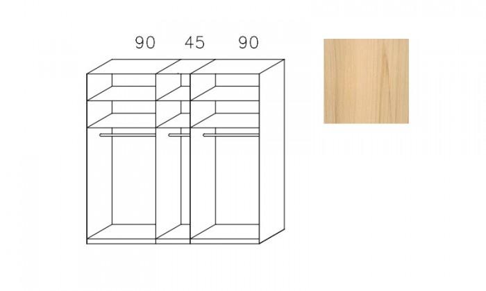 Bazár spálne Imperial-šatní skříň 3 dveře(1xzrcadl.dveře),3montované police