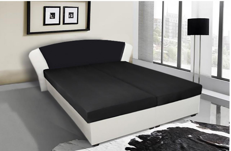 Bazár spálne Kula - posteľ (biela, čierna mura 100)