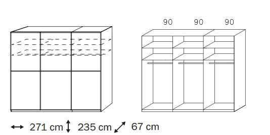 Bazár spálne Linea (Alpská biela/krémové biele sklo)